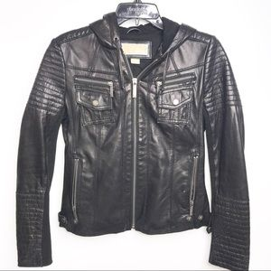 Michael Kors Black Leather Hooded Biker Jacket XS